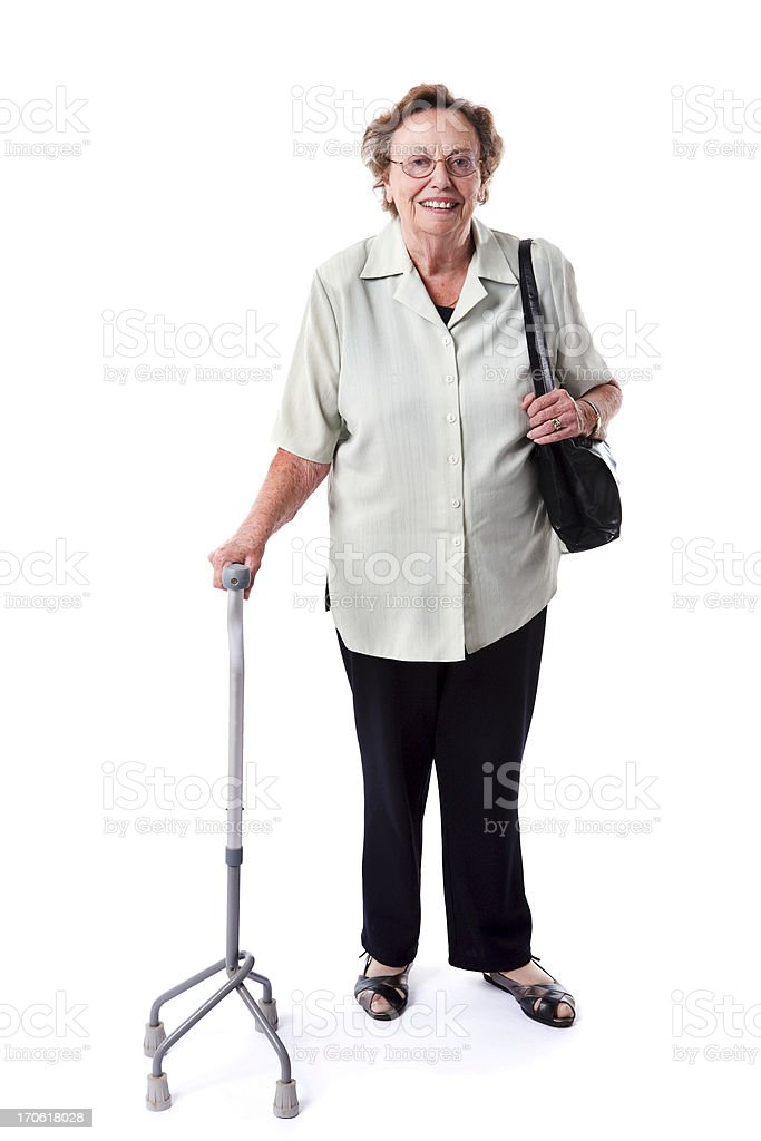 Senior with a stick royalty-free stock photo