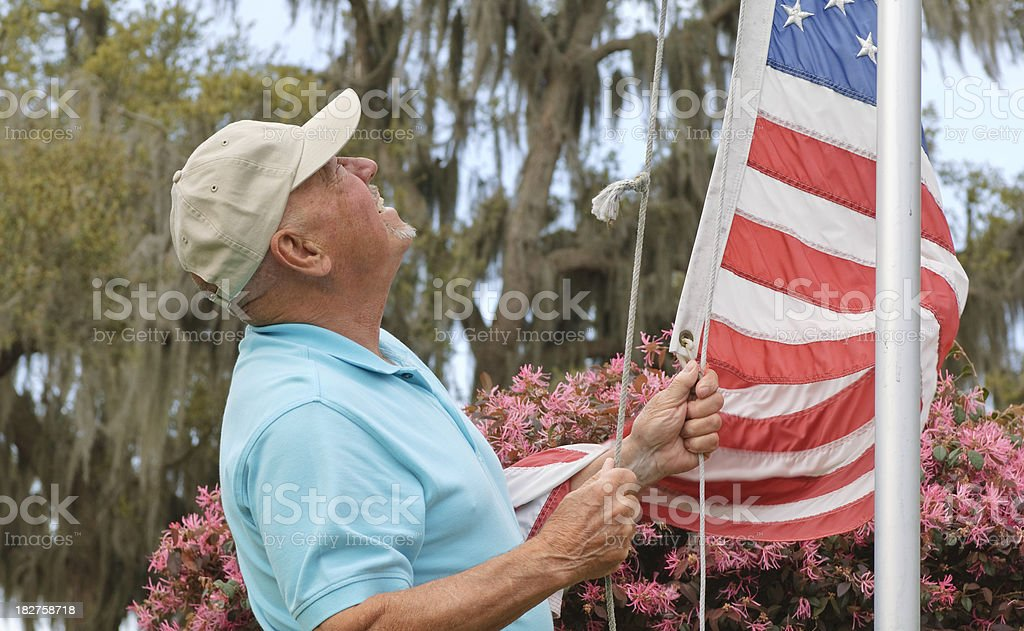 Senior With American Flag royalty-free stock photo