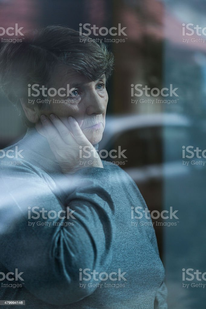 Senior with depression stock photo