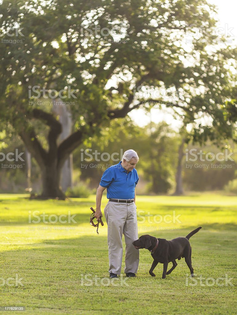 senior with dog royalty-free stock photo