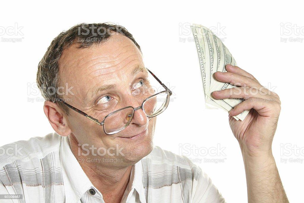 senior with dollars royalty-free stock photo