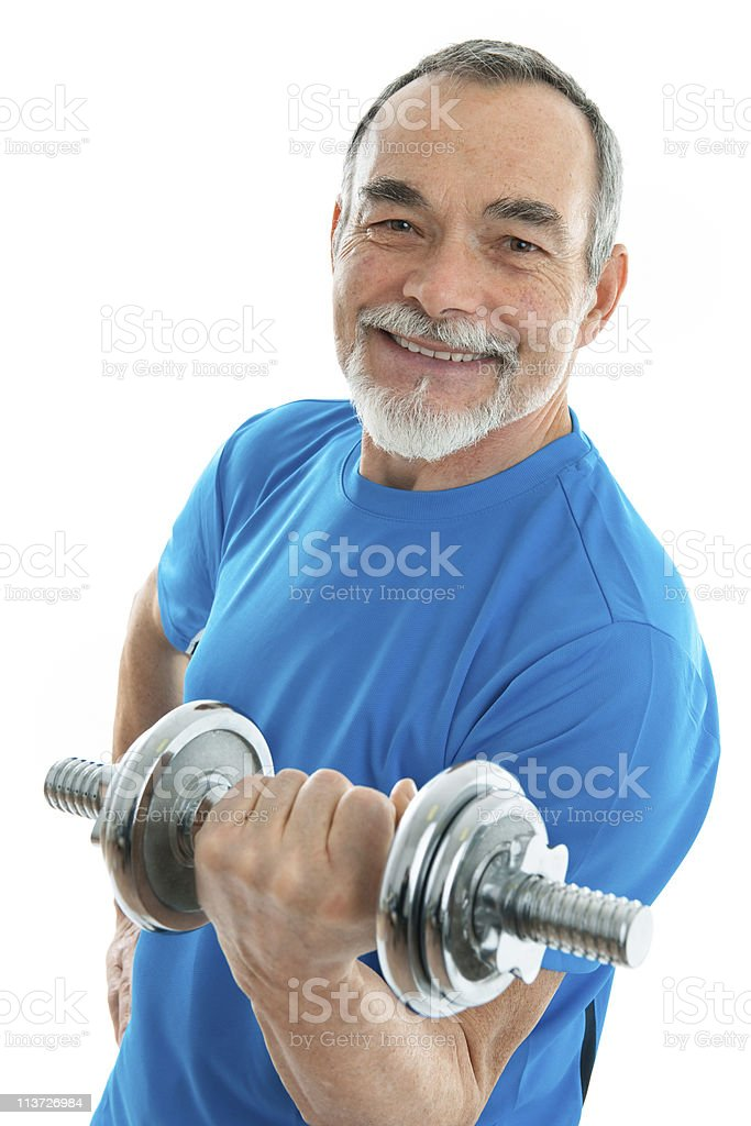 Senior with Dumbbells royalty-free stock photo