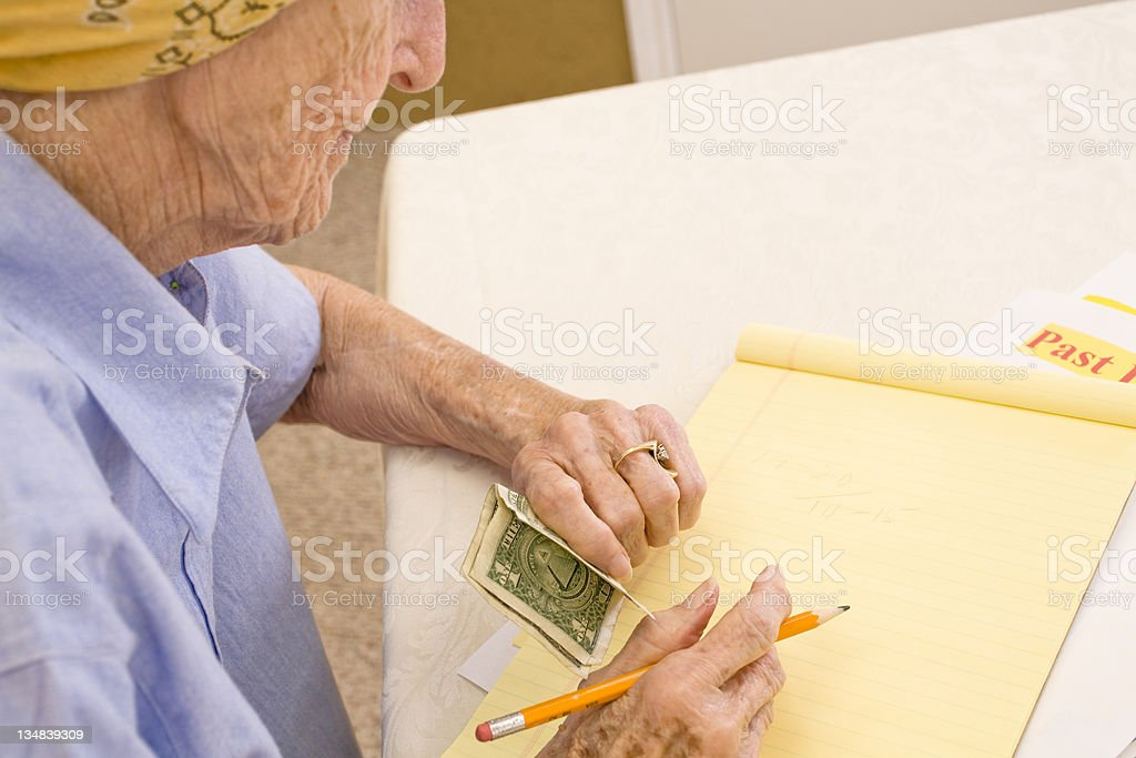 Senior with financial concerns royalty-free stock photo