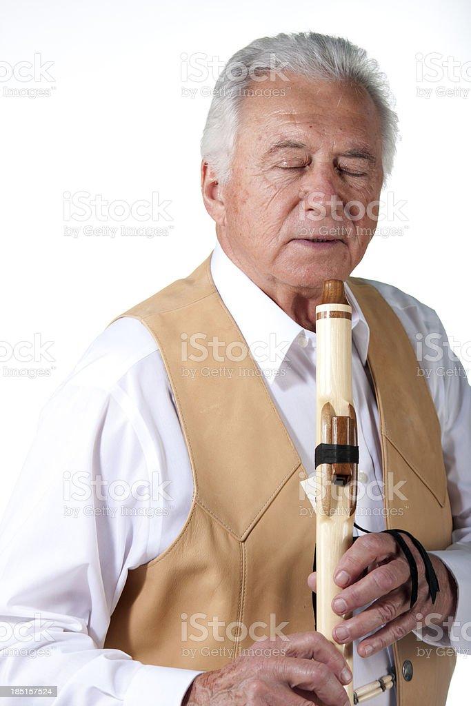senior with flute stock photo