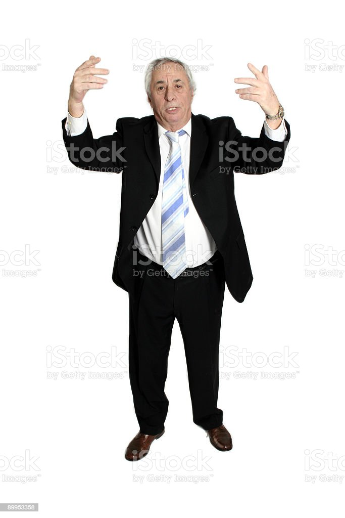 senior with hands up royalty-free stock photo