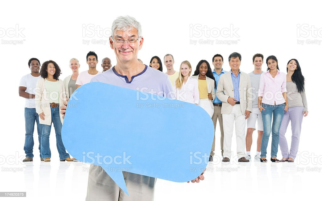 senior with large group of people royalty-free stock photo