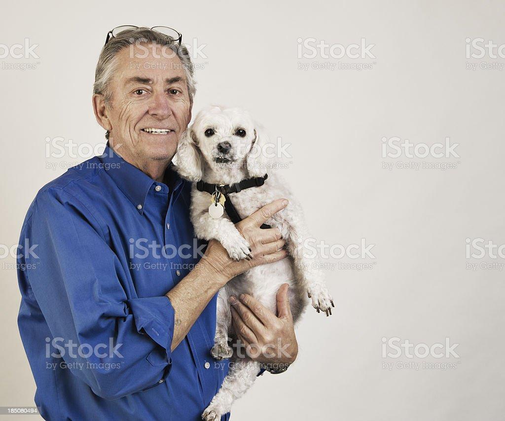Senior with Pet Self Portrait stock photo