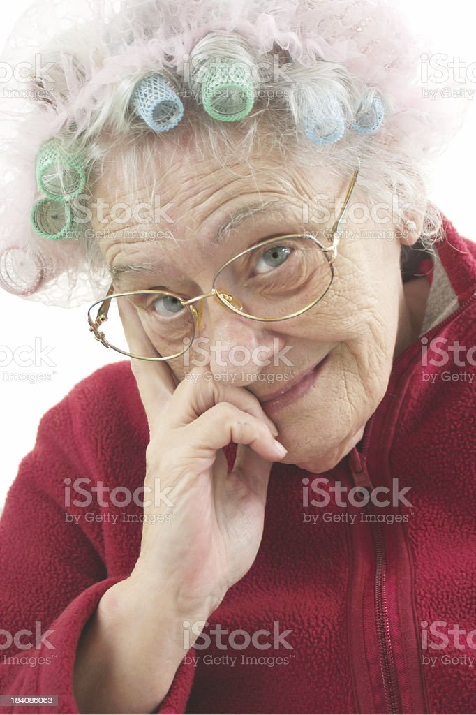 senior with rollers stock photo