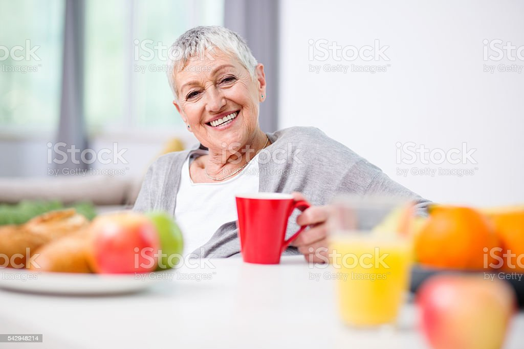 Senior woman and healthy living stock photo