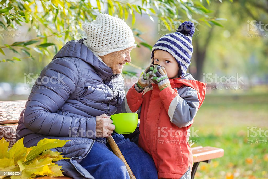 Senior woman and her great grandson in autumn park stock photo