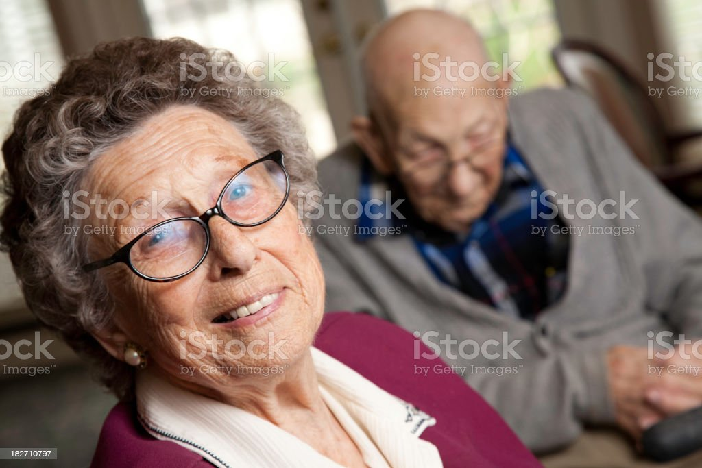 Senior woman and man at retirement home royalty-free stock photo