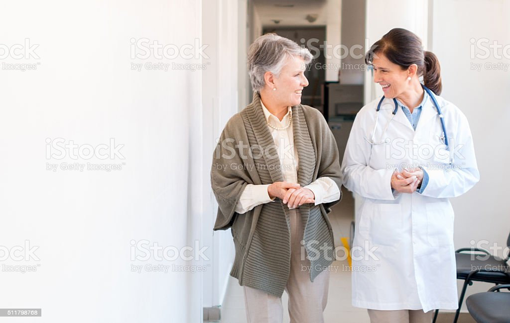 Senior woman at the hospital stock photo