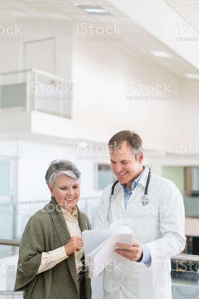 Senior woman at the hospital stock photo