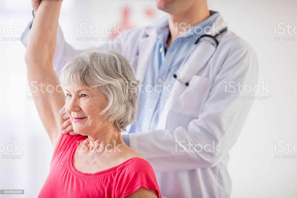 Senior Woman at the Therapist stock photo