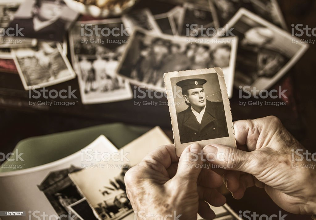 Senior woman browsing dear old photographs stock photo