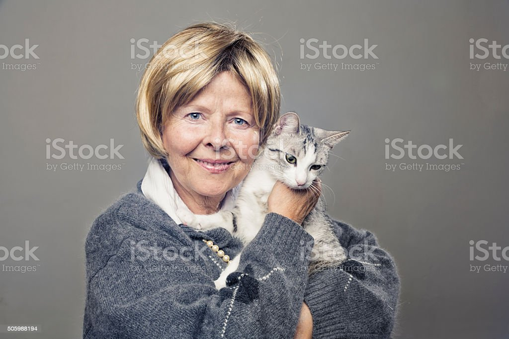 senior woman cat owner happiness stock photo