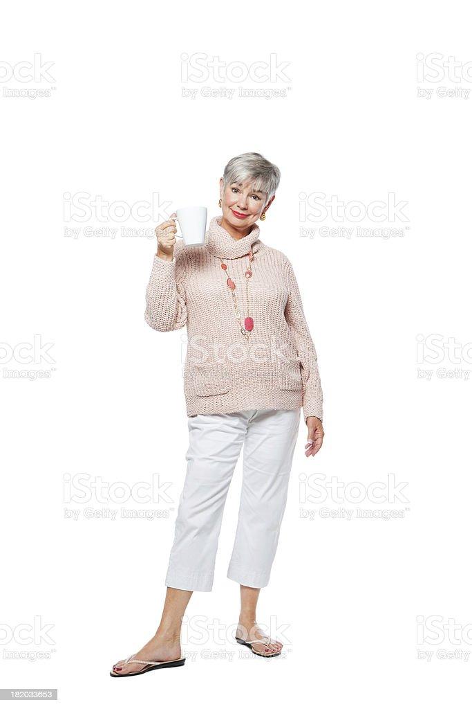 Senior Woman Cheering Coffee stock photo