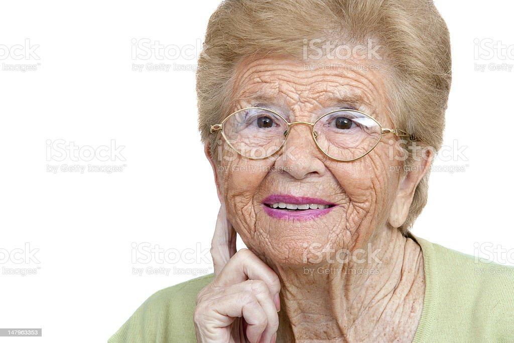 Senior femme gros plan portrait. photo libre de droits