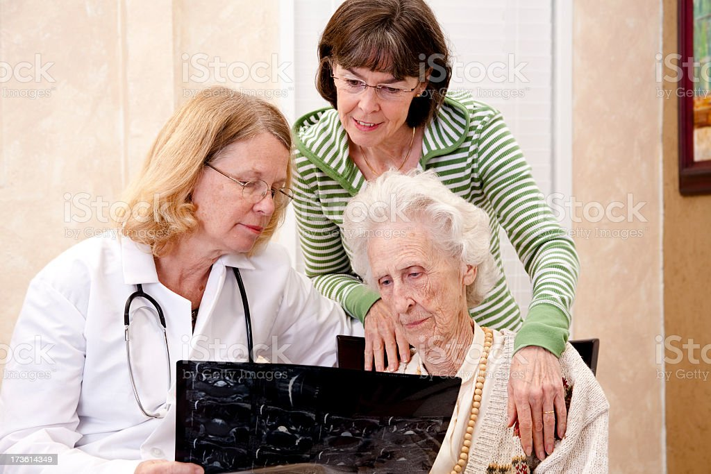 Senior woman consultation with doctor and family. Daughter. Medical. royalty-free stock photo