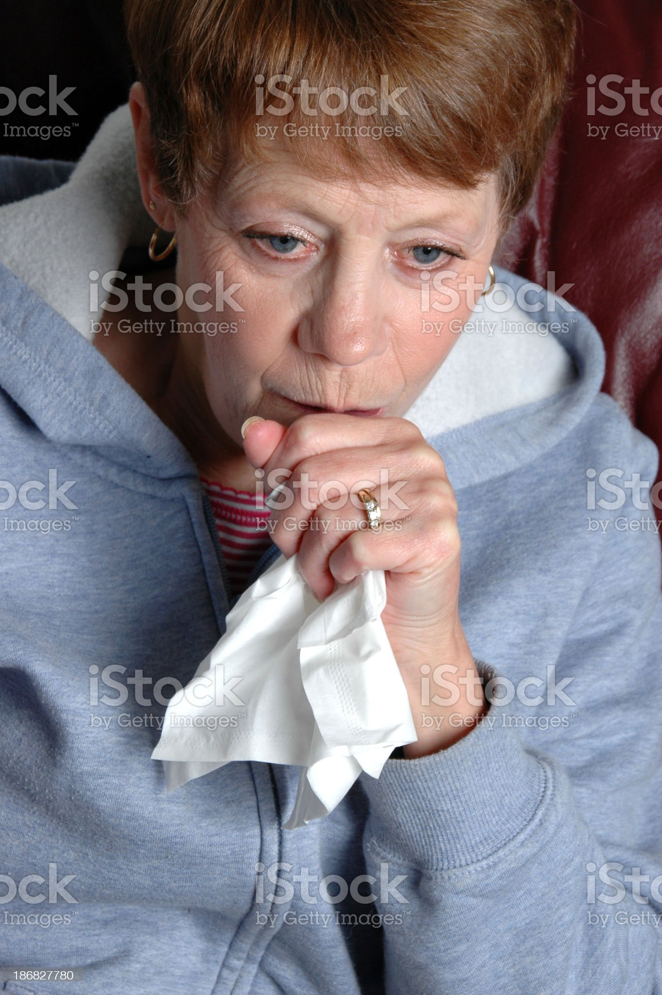 Senior Woman Coughing royalty-free stock photo