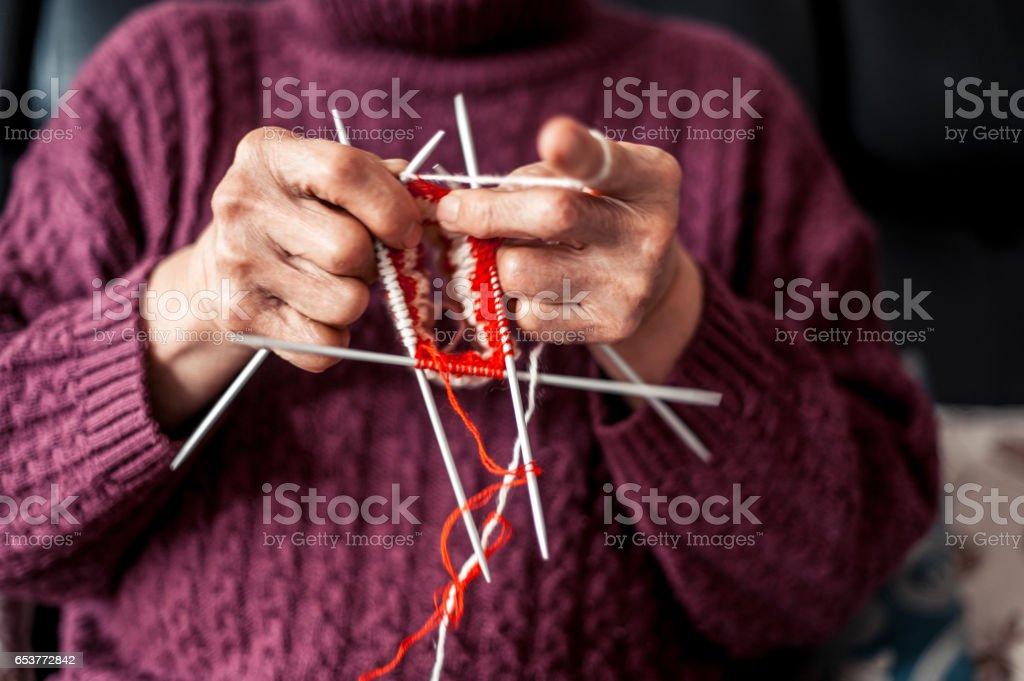 Senior Woman Crocheting stock photo