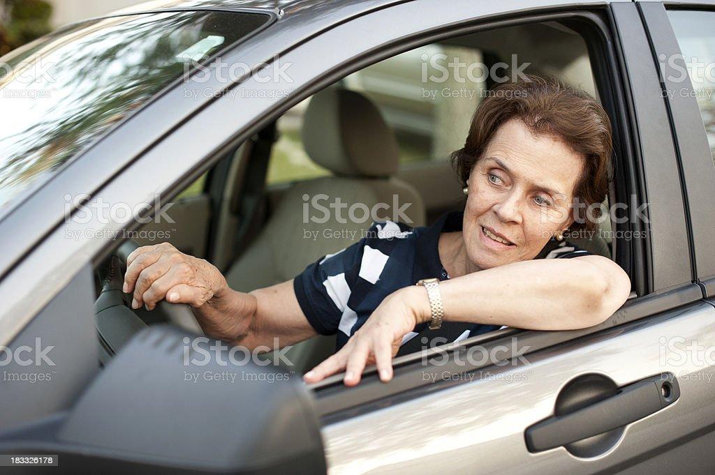 Senior woman driving royalty-free stock photo