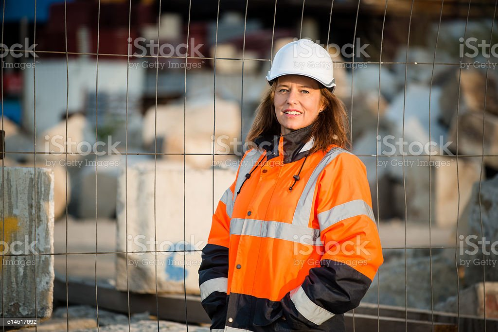 Senior woman engineer portrait stock photo