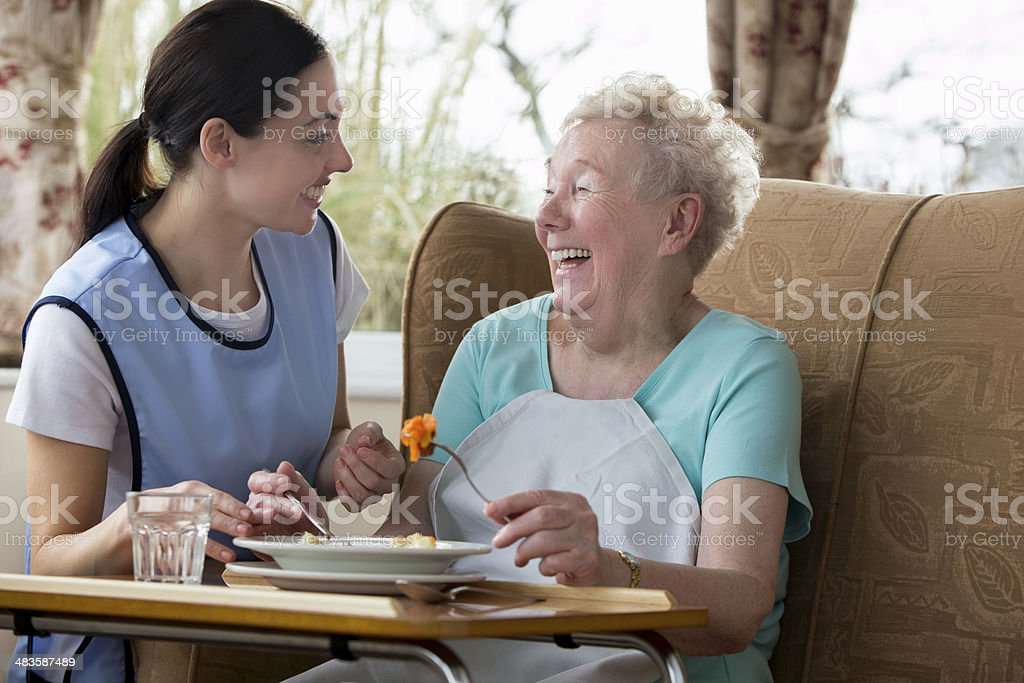 Senior Woman Enjoying her Lunch royalty-free stock photo