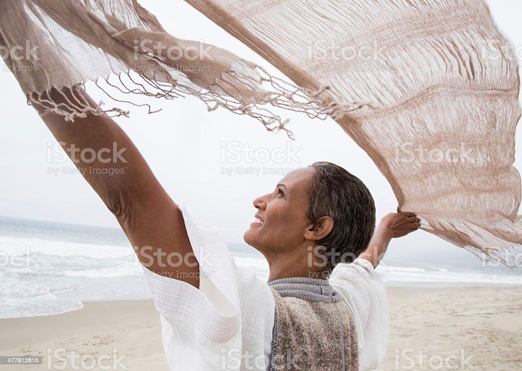 Senior woman enjoying the wind royalty-free stock photo