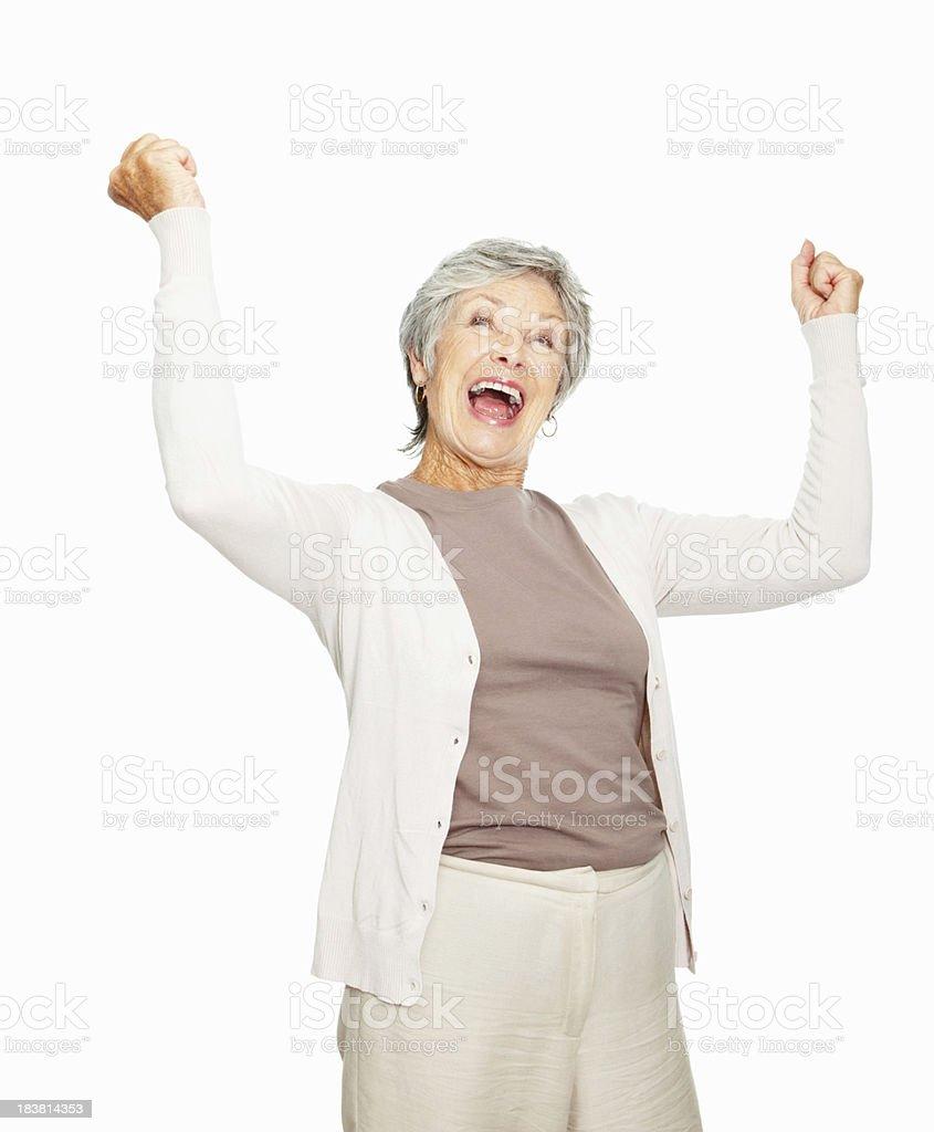 Senior woman expression success royalty-free stock photo