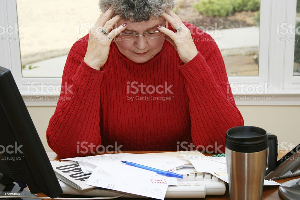 Senior Woman Faces Financial Problems royalty-free stock photo