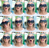 Senior Woman Faces with 4 Glasses