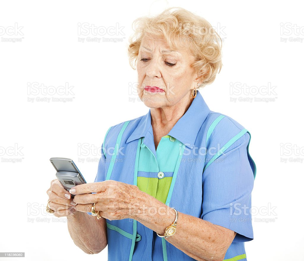 Senior Woman Frustrated by Texting royalty-free stock photo