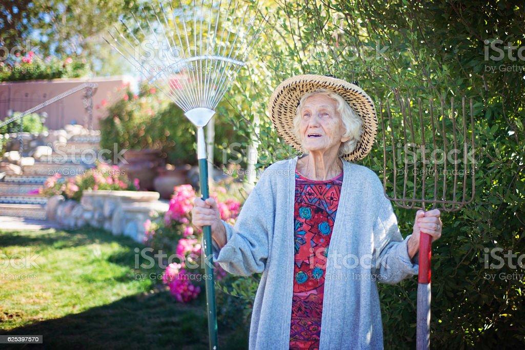 Senior woman gardening, holding a pitchfork and a rake stock photo