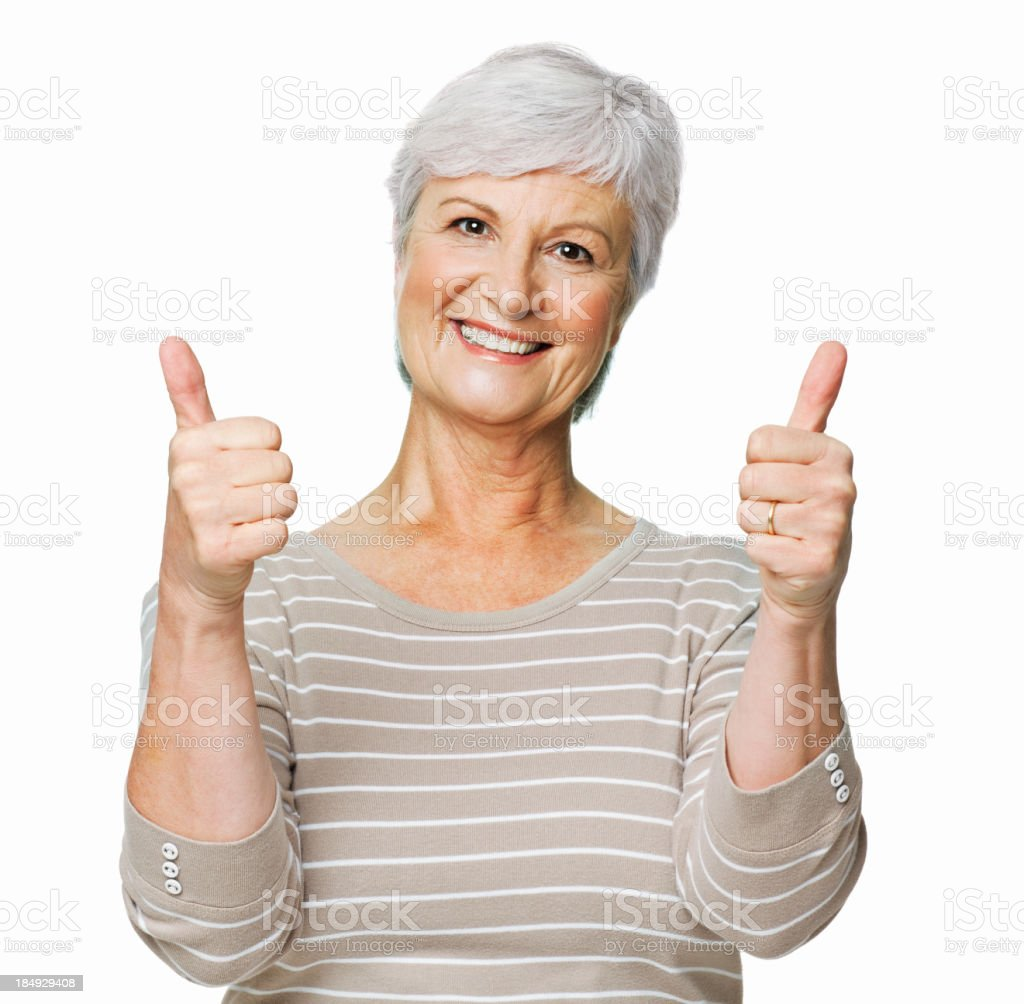 Senior Woman Giving the Thumbs Up - Isolated royalty-free stock photo