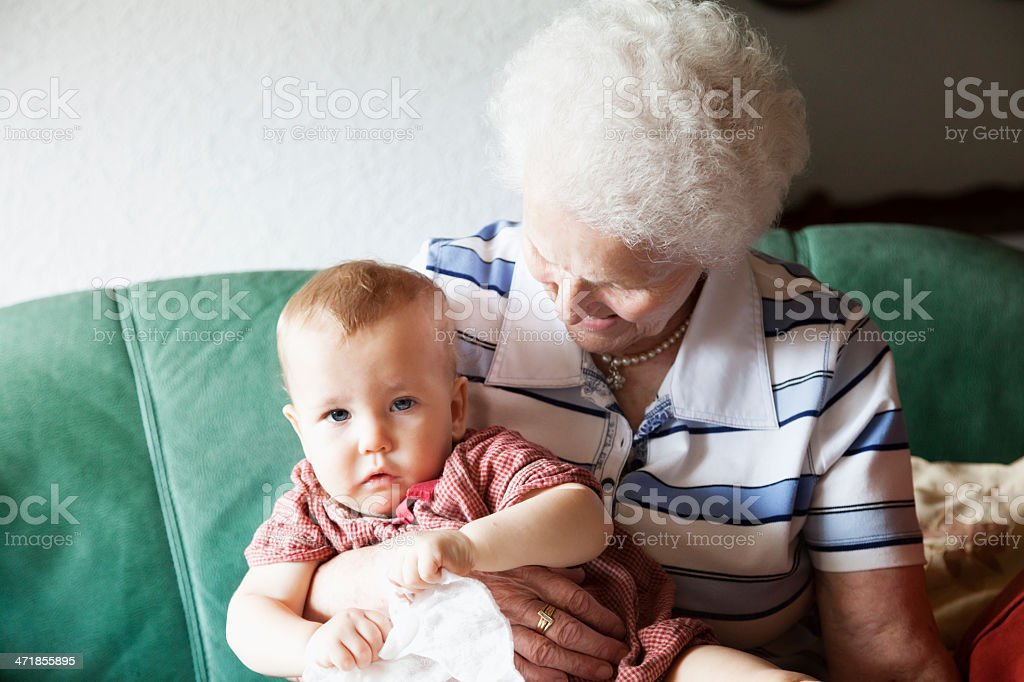 senior woman grandmother and baby girl royalty-free stock photo