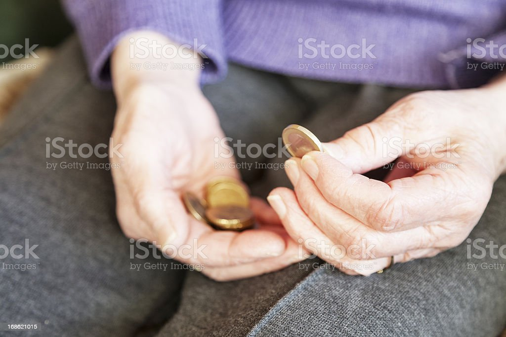 senior woman hand holding money royalty-free stock photo