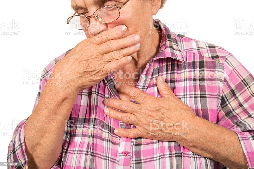 Senior woman having chest pain royalty-free stock photo