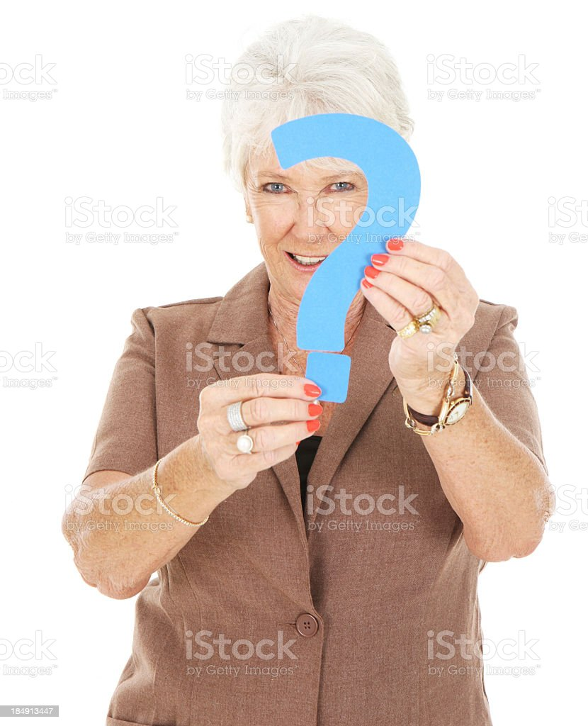 Senior woman holding a question mark royalty-free stock photo