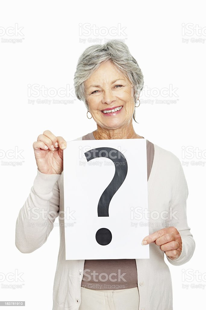 Senior woman holding question mark royalty-free stock photo