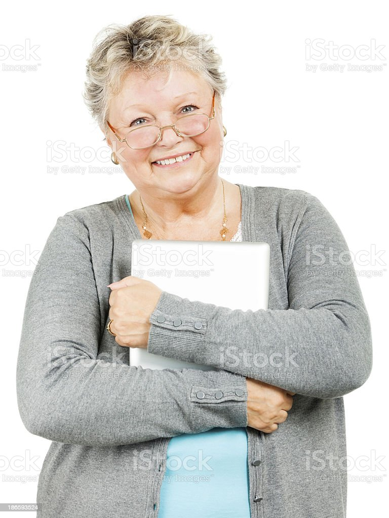 Senior Woman Holding Tablet (Isolated on White) royalty-free stock photo