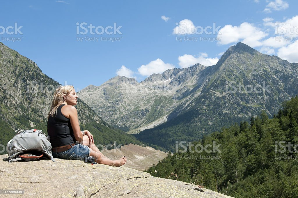 Senior woman in a excurion royalty-free stock photo