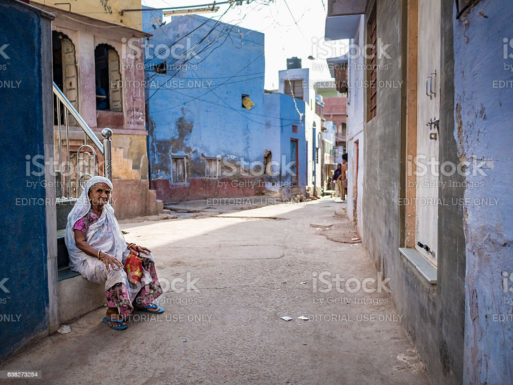 Senior woman in Bikaner India stock photo