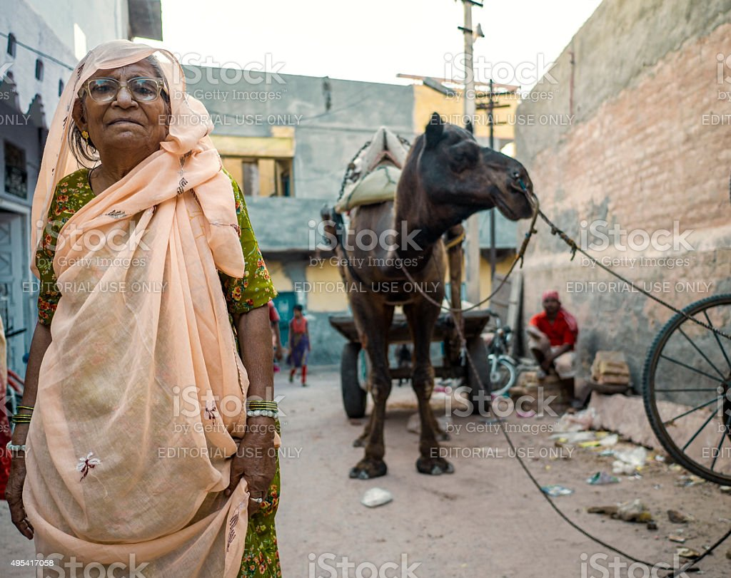 Senior woman in Bikaner Rajasthan India stock photo