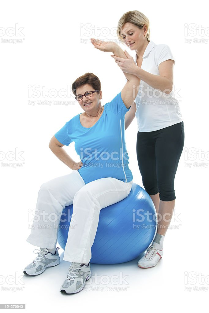 Senior woman in gym royalty-free stock photo