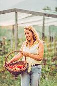 Senior Woman in Her Vegetable Garden