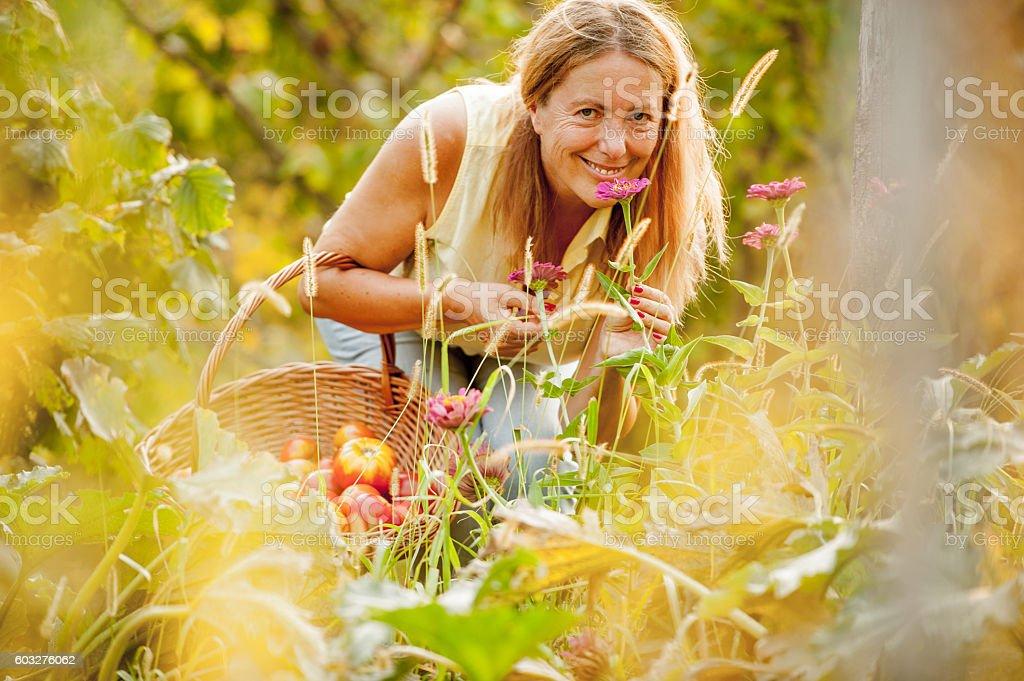 Senior Woman in her Vegetable Garden Smelling Flowers stock photo