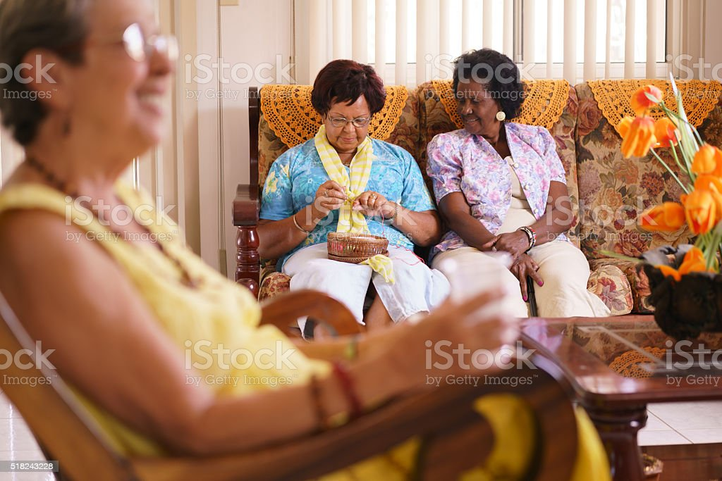 Senior Woman In Hospice Knitting Whool stock photo