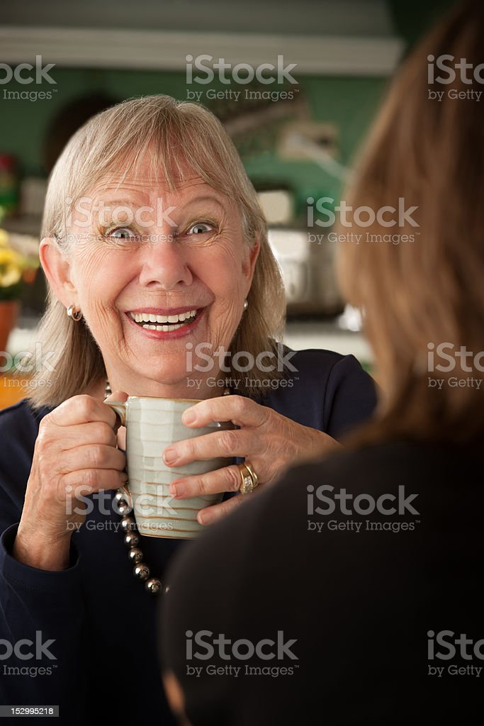 Senior woman in kitchen with daughter or friend royalty-free stock photo
