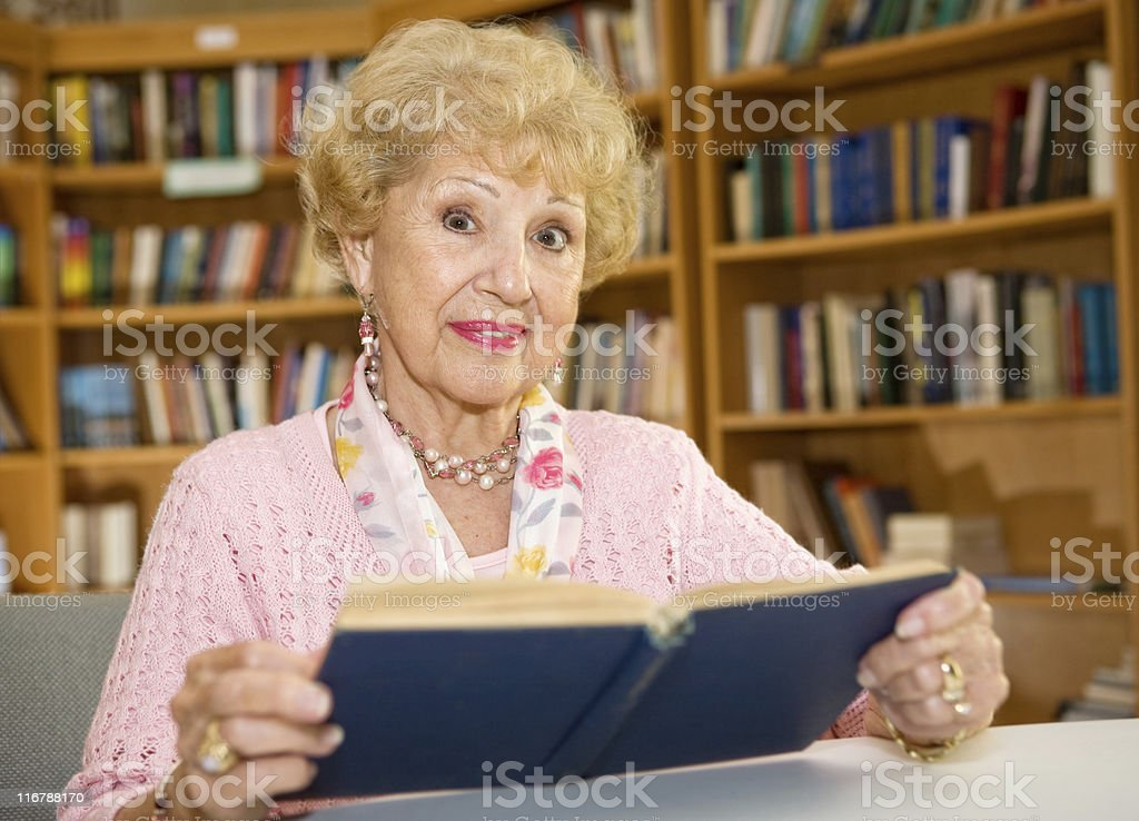 Senior Woman in Library royalty-free stock photo